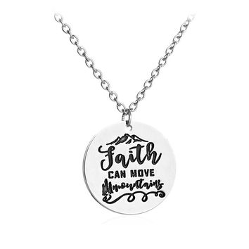 Unisex Faith Can Move Mountains Jesus God Christian Bible Inspirational  Pendant Necklace