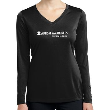 Buy Cool Shirts Autism Awareness Time to Listen Ladies Dry Wicking Long Sleeve