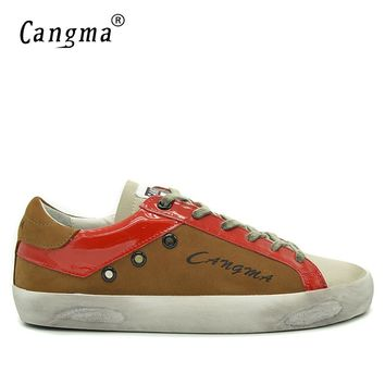 CANGMA Fashion Shoes Men Sneakers Brown Designer Shoes Casual Luxury Genuine Leather Mens Breathable Male Shoes Newest Footwear