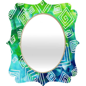 Madart Inc. Sea of Whimsy Square Curly Cue Quatrefoil Mirror