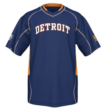 Majestic Detroit Tigers Cooperstown Collection Vintage Champ V-Neck T-Shirt - Navy Blue