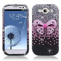 Aimo Wireless SAMI9300PC3D817 3D Premium Stylish Diamond Bling Case for Samsung Galaxy S3 i9300 - Retail Packaging - Pink Bow Tie