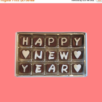 Happy New Year Cubic Chocolate Letters Fun Funny Romantic Holiday 2016 Gift for BFF Kids Best Friend Men Women Him Her AK Apo Canada UK