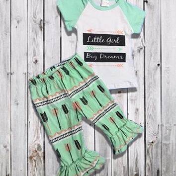 "Baby Girl's Outfit, ""Little Girl Big Dreams"" Ruffled Capri Pant, Toddler Girl Outfit, Kids Clothes, Children's Clothing, Girls Summer Outfit"