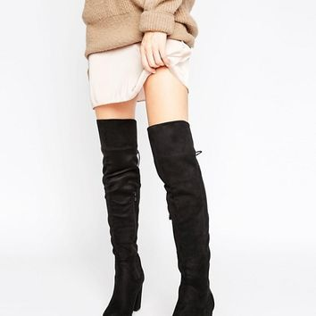 Truffle Collection Over Knee Block Heel Boot at asos.com