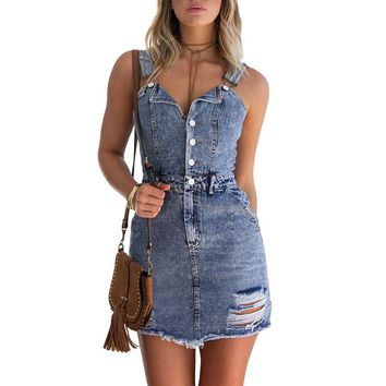 Fashion Single Row Buttons V-Neck Ripped Bodycon Sleeveless Strap Denim Mini Dress