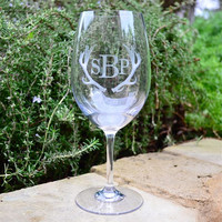 Monogrammed Tritan Plastic Wine Glasses - set of 6