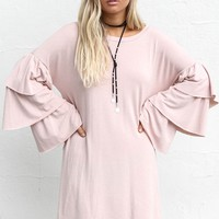 Walk By Dusty Pink Ruffle Dress