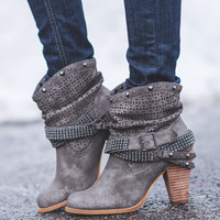 This Way Or That Way Slouch Studded Booties