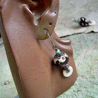 Lampwork Glass Earrings, Ivory & Tiger Stripe, Earth Tones, Oxidized Copper Wire Wrap, Natural Coral Discs, Boho Glam, Elksong Jewelry