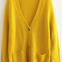 Yellow Mohair Cardigans