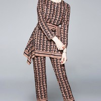 Fendi New fashion more letter print long sleeve top and pants two piece suit Coffee