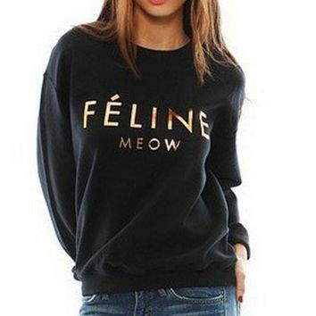PEAPJ1A Gold printed letters sweater plus velvet sweater Feline Meow [gold plastic]