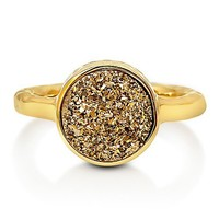 Round Gold Color Natural Druzy Quartz Gold Plated Brass Fashion Ring #r700-G