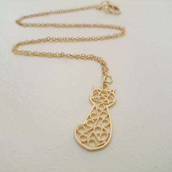 Gold Cat Necklace/ Layering Necklace/ Matte Gold Filigree Cat Pendant/ Delicate/ Small/ Minimalist Necklace/ Womans Girls Chain Necklace
