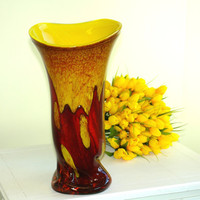 glass vase hand blow glass vase yellow red vase Makora made in Poland multicolor weddings gift ideas