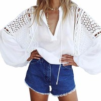 Women's BOHO Flowy White Crochet Lace Oversized Blouse Front Tie Top Sheer Beach Coverup