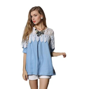 Fashion Lace Patchwork Blouse Women denim blue Blusas O-neck Pullover Quarter Sleeve Shirts Female Top Plus Size 5XL