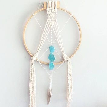 Macrame Wall Hanging- Boho Home Decor~ Nursery~ Wedding Decor~ Dream Catcher- DreamCatchers- Turquoise Decor- Wall Accent- Bohemian decor