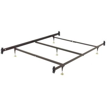 Queen size Metal Bed Frame with Hook-On Headboard Footboard Brackets