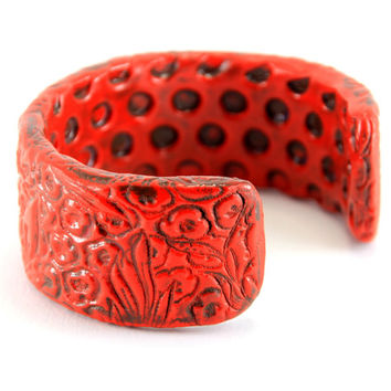 Bold Red and Chocolate Brown Bracelet Cuff