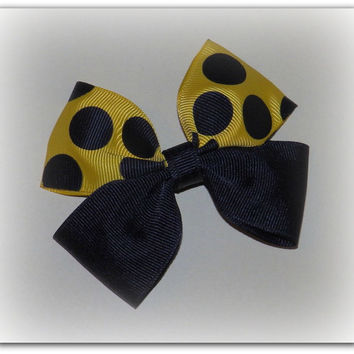 Boutique Hair Bow ~ Black and Yellow ~ Polka Dot ~ Bumble Bee ~ Spring Hair Bow ~ Summer Hair Bow
