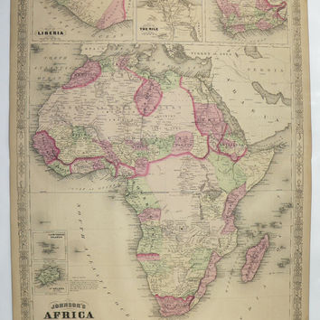 Original Vintage Map Africa 1867 Johnson Map, Antique Large Map, African Decor Art Map, Travel Map, Wedding Gift for Couple