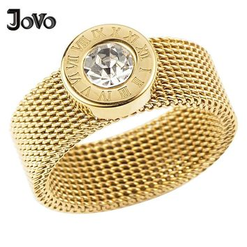Fashion Roman Number Crystal Round Rings Gold Color Stainless Steel Mesh Chain Ring for women jewelry Bijoux Anel Feminino