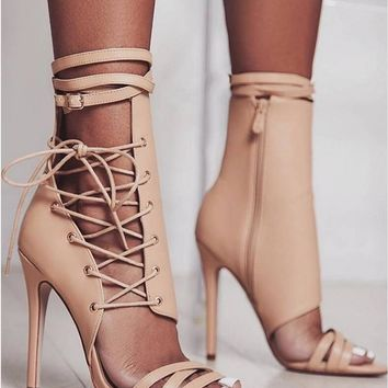 Gladiator Buckle Lace Up Zip Up Peep Toe High Heel Boots