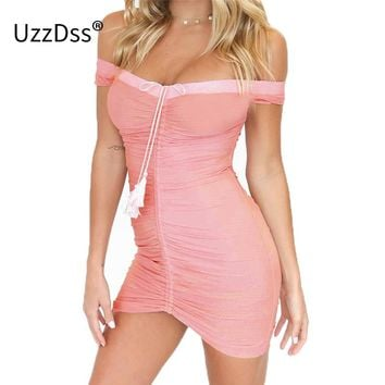UZZDSS Strapless Ruched Lift Up Drawstring Women Mesh Sheer Dresses Off Shoulder Party Bodycon Sexy Mini Club Dress Vestidos