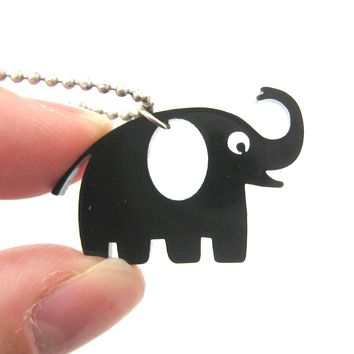 Happy Elephant Silhouette Shaped Pendant Necklace in Black Acrylic | DOTOLY