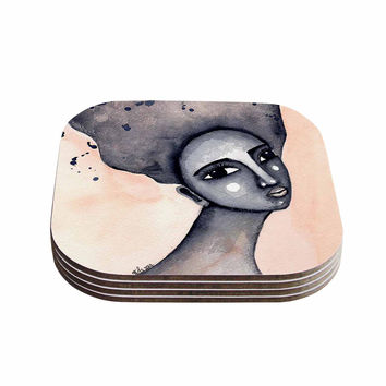 "Stacey-Ann Cole ""Yearning African American Art"" Beige Black Coasters (Set of 4)"