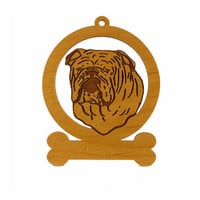 English Bulldog Head Ornament 083131 Personalized With Your Dog's Name