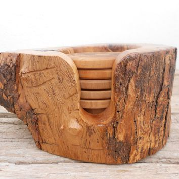 Engraved Wooden Rustic Coaster set with Rustic Holder, Natural Edges Olive Wood