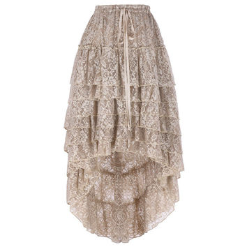 Fashion Lace Skirts For Women Soft Fluffy Midi Skirt High Low Design Steampunk Skirt