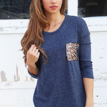 Sequin Pocket Knit {Navy}