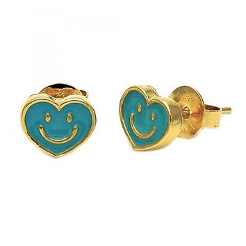 Gold Layered 02.64.0233 Stud Earring, Heart and Smile Design, Turquoise Enamel Finish, Gold Tone