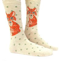 Pretty Orange Fox and Polka Dot Novelty Print Calf High Socks for Women