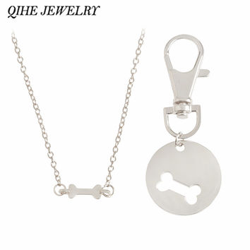 QIHE JEWELRY Dog-Human Dog Bone Charm Necklace And Collar Matching Friendship Best Friend Jewelry Pet Jewelry Dog Lover Gift