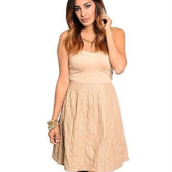 Ark and Co Beige Strapless Faux Leather Flare Skirt Dress Sz M