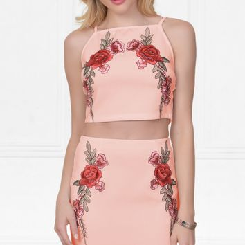 Indie XO Floral Frenzy Pink Peach Scuba Red Rose Floral High Waist Bodycon Mini Skirt Crop Top Two Piece Set