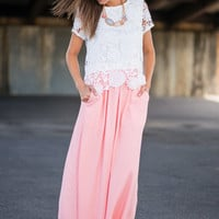 Sincere Wishes Maxi Skirt, Baby Pink