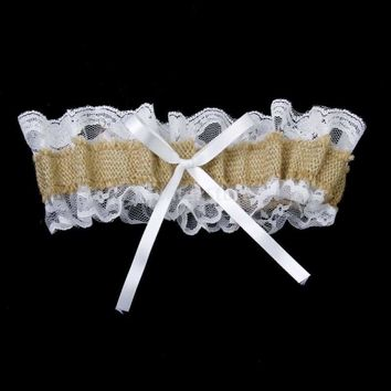 Garter Country Romance Jute Burlap and Lace Bridal Wedding Garter (13-23 inches)