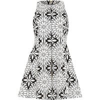 River Island Womens Black and white floral organza lace dress