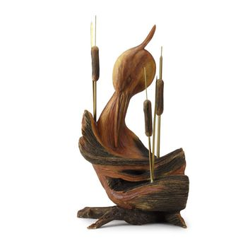 Whispering Woods Heron Sculpture