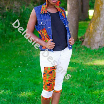 Kente Randomness -  Embellished Kente Vest Jean Jacket