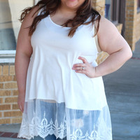 Lace Layering Tank in White {Curvy}