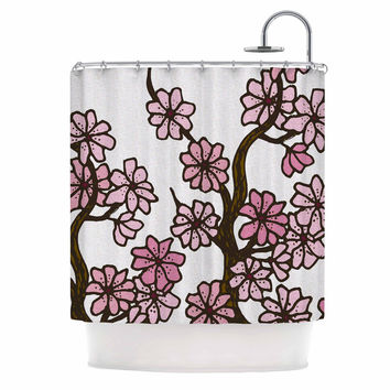 "Art Love Passion ""Cherry Blossoms"" White Pink Shower Curtain"