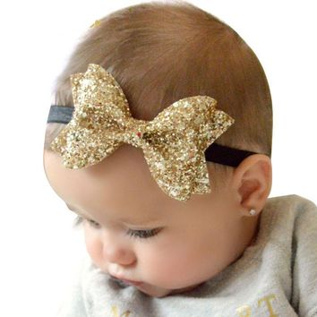 Sparkling Shiny Bow Gold Color Cute Baby Girl Child Infant Toddler Head Wraps Bandana Headband