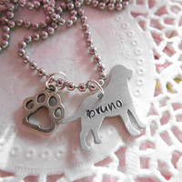 Aluminium Labrador Hand Stamped Necklace With Paw Charm